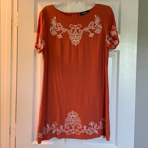 Lulus Orange embroidered shift dress